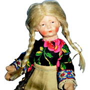 Antique All Cloth Painted Face German Bing Doll