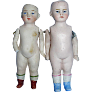 Antique German Painted Eye All Bisque Pin Jointed Dolls