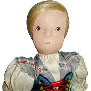 13 Inch Vintage All Cloth Painted Face Sweden Doll