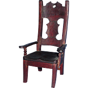 7.5 Inch Tall Old Wood Hand Made Doll Chair