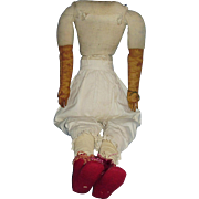 25 Inch Large Antique Cloth China Doll Body With Leather Arms