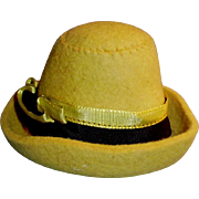 1920s Stylish Wool Felt Doll Hat With Ribbon Band
