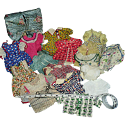 Vintage Lot of 1950s Cotton Shirtwaist Doll Dresses Hat Garment Bag and More