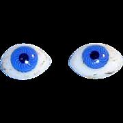 Antique Cobalt Blue Oval Doll Eyes