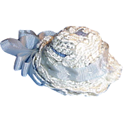 Vintage Miniature Blue and White Doll Hat