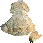 Vintage Miniature Lace and Silk Doll Gown Jacket Hat