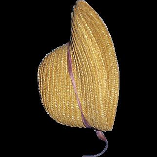 Vintage Natural Straw Doll Poke Bonnet Hat