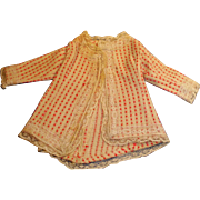 Antique Wool Pink and Ecru Fashion Doll Jacket With Lace Trim