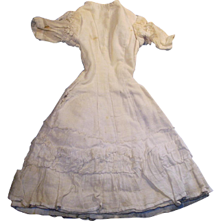Antique Off White Cotton Fitted Fashion Doll Dress With Ruffles
