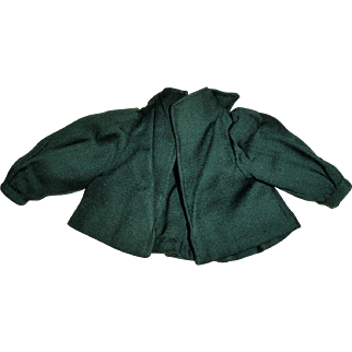 Antique 1860 China Fashion Doll Green Fine Wool Jacket