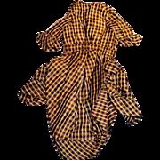 1800s Fancy Plaid Silk Doll Fashion Jacket