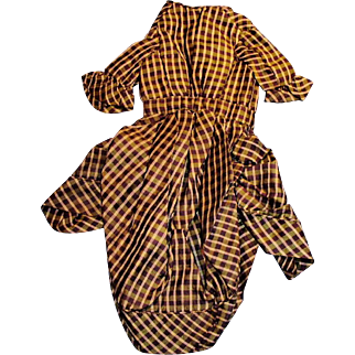 1800s Fancy Plaid Silk Doll Fashion Jacket