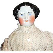 21 Inch Antique German Black Hair China Doll