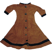 Antique Brown Cotton And Velvet Doll Dress