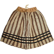 Antique Brown and Black Linsey Woolsey Striped Doll Skirt