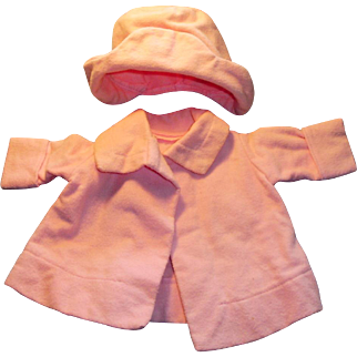 Vintage Adorable Pink Two Piece Doll Hat and Coat Set