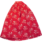 Antique Hand Stitched Red and White Cotton Flower Calico Doll Skirt
