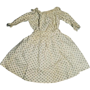 Antique Two Piece Cotton Calico And Lace 1800s Doll Outfit