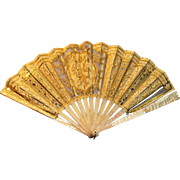 Fancy Victorian Mother of Pearl Gold And Silk Ladies Embroidered Fan