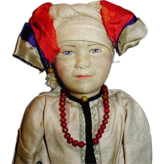 1920s Soviet Union Russian Stockinette Mordwa Woman Doll