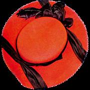 Antique Red Felt Doll Hat with Black Silk Ribbon Trim