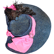 Antique Fancy Blue Felt and Pink Silk Doll Hat