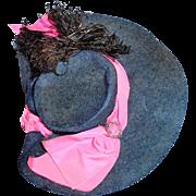 Antique Fancy Blue Felt and Pink Silk Doll Hat