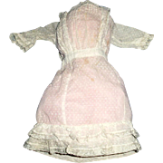 Antique Edwardian White Dotted Swiss And Lace Doll Dress