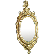 Antique Fancy Gold Ormolu Metal Oval Dollhouse Mirror