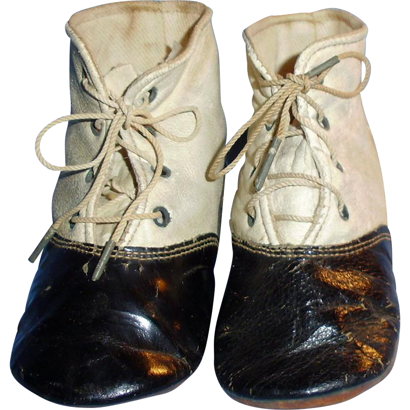 antique black and white leather large doll shoes from