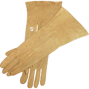 Antique Victorian Tan Suede Doll Gloves With Two MOP Buttons