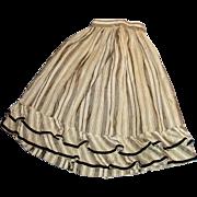 Antique Fancy Gray White Striped Fashion Silk Doll Skirt
