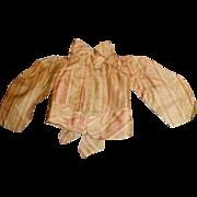 Antique Fancy EdwardianPink and Tan Stripe Doll Silk Blouse