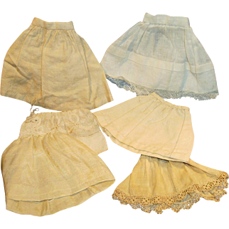 6 Small Size Antique Doll White Cotton And Silk Half Slips
