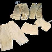 5 Antique White Cotton Hand Stitched Small Size Doll Underwear