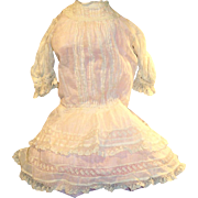 Antique Hand Stitched White Cotton And Lace Drop Waist Doll Dress