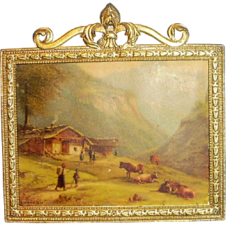 Antique Gold Painted Metal Dollhouse Framed Print Scene With Cows