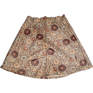 Antique Hand Stitched Cotton Calico Brown And Blue Doll Skirt