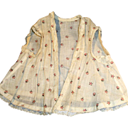 Antique Rosebud Print Cotton Organdy And Lace Doll Vest