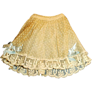 Small Antique White Dotted Swiss Organdy And Lace Doll Skirt