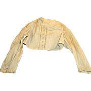 Antique White Cotton Embroidered Long Sleeve Doll Blouse