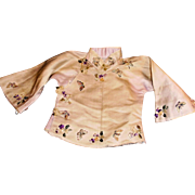Antique Lavender Silk Embroidered Chinese Doll Jacket