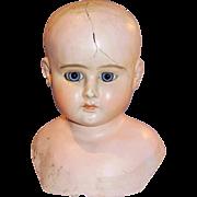 Antique German Glass Eye Composition Turned Shoulderhead Doll Head