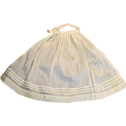 Antique White Cotton And Lace Trim Fashion Doll Apron