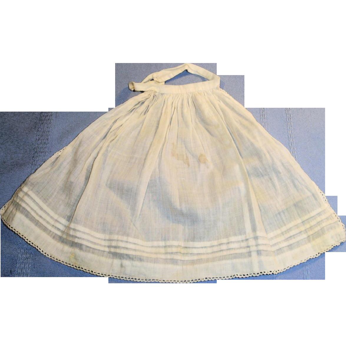 White apron lace trim - Antique White Cotton And Lace Trim Fashion Doll Apron