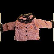 Antique Hand Stitched Purple Plaid Silk Doll Jacket