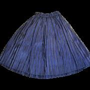 1890s Blue Silk Hand Stitched Antique Doll Skirt