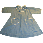 Antique Blue And White Cotton Doll Dress With Pockets
