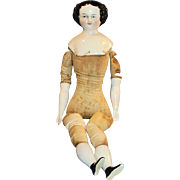 "1850 German 20"" Flat Top Three Hole China Doll Nude"