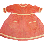Antique Brick Red And White Trim Cotton Doll Dress
